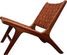 Chaise lounge BORO de Gong, Cuir vintage et teck