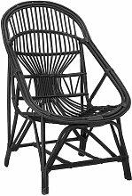 Chaise lounge Joline en rotin de couleur noire