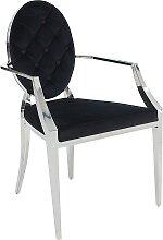 Chaise médaillon baroque velours noir avec