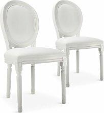 Chaise médaillon bois blanc et simili blanc Louis