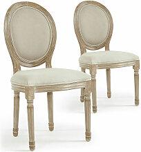Chaise médaillon bois et tissu beige Louis XVI -