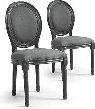 Chaise médaillon bois et tissu gris Louis XVI -