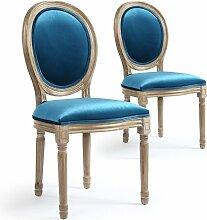Chaise médaillon bois et velours bleu Louis XVI -