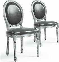 Chaise médaillon bois patiné argenté et simili