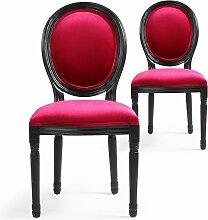 Chaise médaillon bois patiné noir et velours