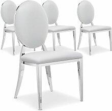 Chaise médaillon effet miroir et simili blanc