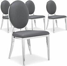 Chaise médaillon effet miroir et simili gris