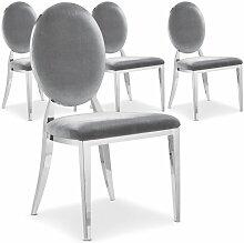 Chaise médaillon effet miroir et velours gris