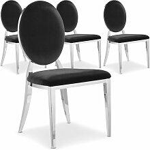 Chaise médaillon effet miroir et velours noir