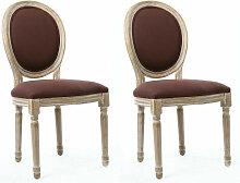 Chaise médaillon tissu marron et bouleau massif
