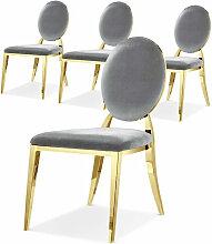 Chaise médaillon velours gris et pieds métal