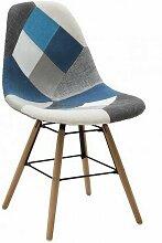 Chaise mod. Dsw patchwork gris-bleu