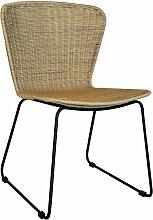 Chaise moderne en rotin naturel et métal noir