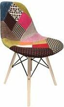 Chaise patchwork en tissu et bois de hêtre - retro
