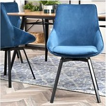 Chaise pivotante en velours - YANII - bleu / noir
