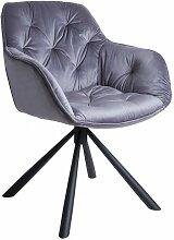 Chaise pivotante velours gris - STAR - Gris
