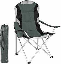 Chaise pliante avec rembourrage camping gris - Gris