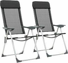 Chaise pliante de camping 2 pcs Noir Aluminium