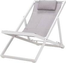 Chaise pliante en aluminium et en textilène blanc