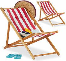 Chaise pliante lot de 2 en bambou tissu chaise de