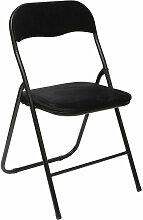Chaise pliante velours noir 5Five - Noir