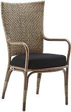 Chaise repas en rotin antique avec coussin façon
