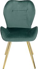 Chaise rétro en velours vert et acier doré