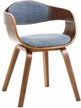 Chaise retro kingston en tissu , noyer / bleu