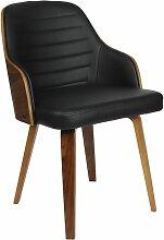 Chaise  rétro simili noir et contreplaqué marron
