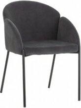 Chaise rétro tissu gris/noir mundo