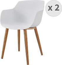 Chaise scandinave blanc pied métal effet bois (x2)