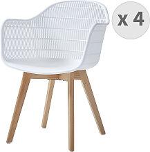 Chaise scandinave blanc pieds hêtre (x4)