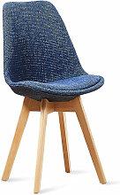 Chaise scandinave bleu patchwork - Bjorn Bleu -