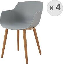 Chaise scandinave gris pied métal effet bois (x4)