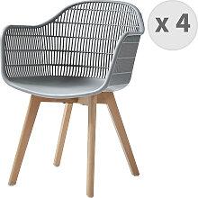 Chaise scandinave gris pieds hêtre (x4)