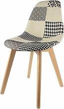 Chaise scandinave Patchwork - H. 85 cm - Noir et