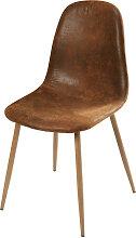 Chaise style scandinave en microsuède marron