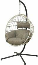 Chaise suspendue en corde palanga gris - jardideco