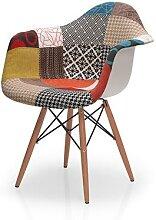 Chaise tissu patchwork avec accoudoirs PANEL 2,