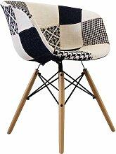 Chaise tissu patchwork noir et blanc