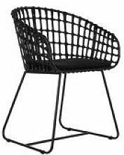 Chaise Tokyo / Rotin & métal - Pols Potten noir