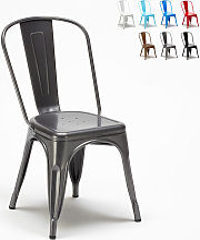 Chaise Tolix industrielle en acier et métal pour