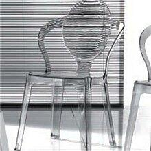 Chaise transparente grise FLORE (lot de 4)