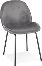 Chaise vintage 'MAGALY' en velours gris