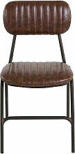 Chaise vintage imitation cuir et métal brut