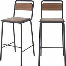 Chaises de bar charlemagne en bois vieilli 72 cm