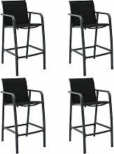 Chaises de bar de jardin 4 pcs Noir Textilène