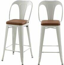 Chaises de bar mi-hauteur charly blanches et