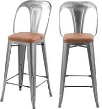Chaises de bar mi-hauteur charly chrome et marron