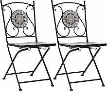 Chaises de Bistrot Céramique Mosaïque 2 pcs Gris